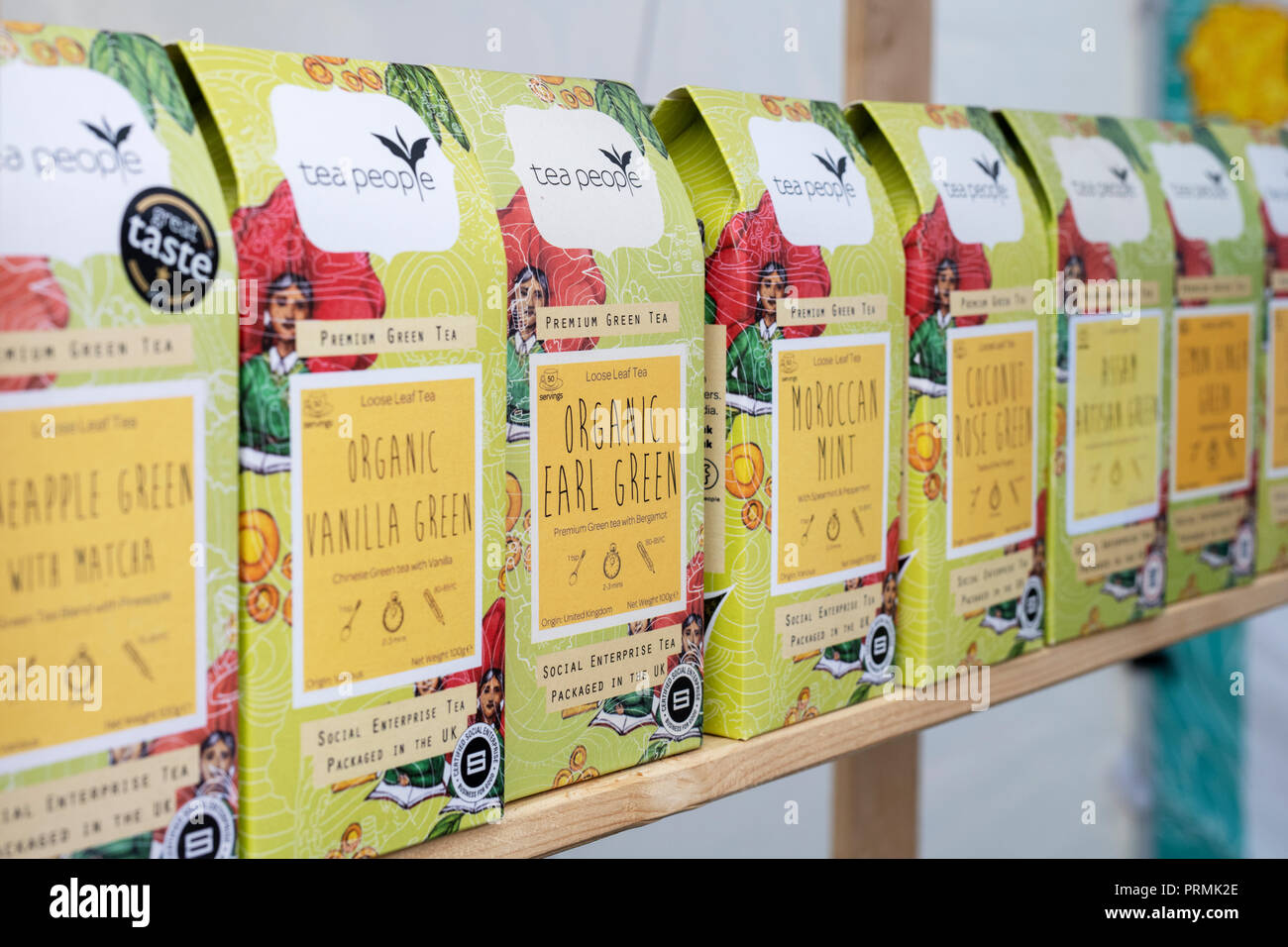 Green Tea variety packets for sale at the Thame food festival. Thame, Oxfordshire, England - Stock Image