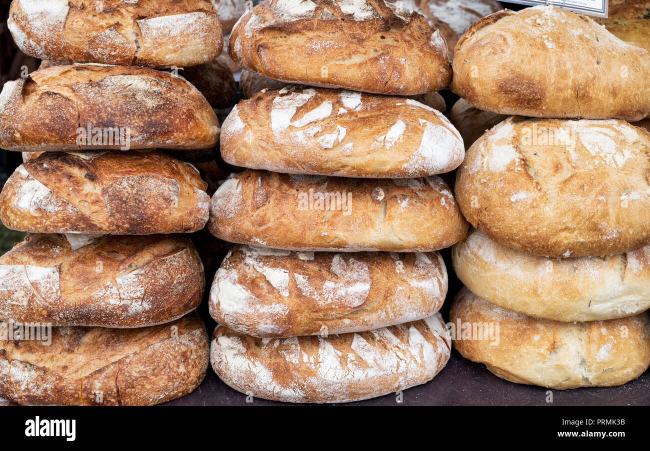 Pain au levain and pain de campagne sourdough bread for sale at the Thame food festival. Thame, Oxfordshire, England - Stock Image