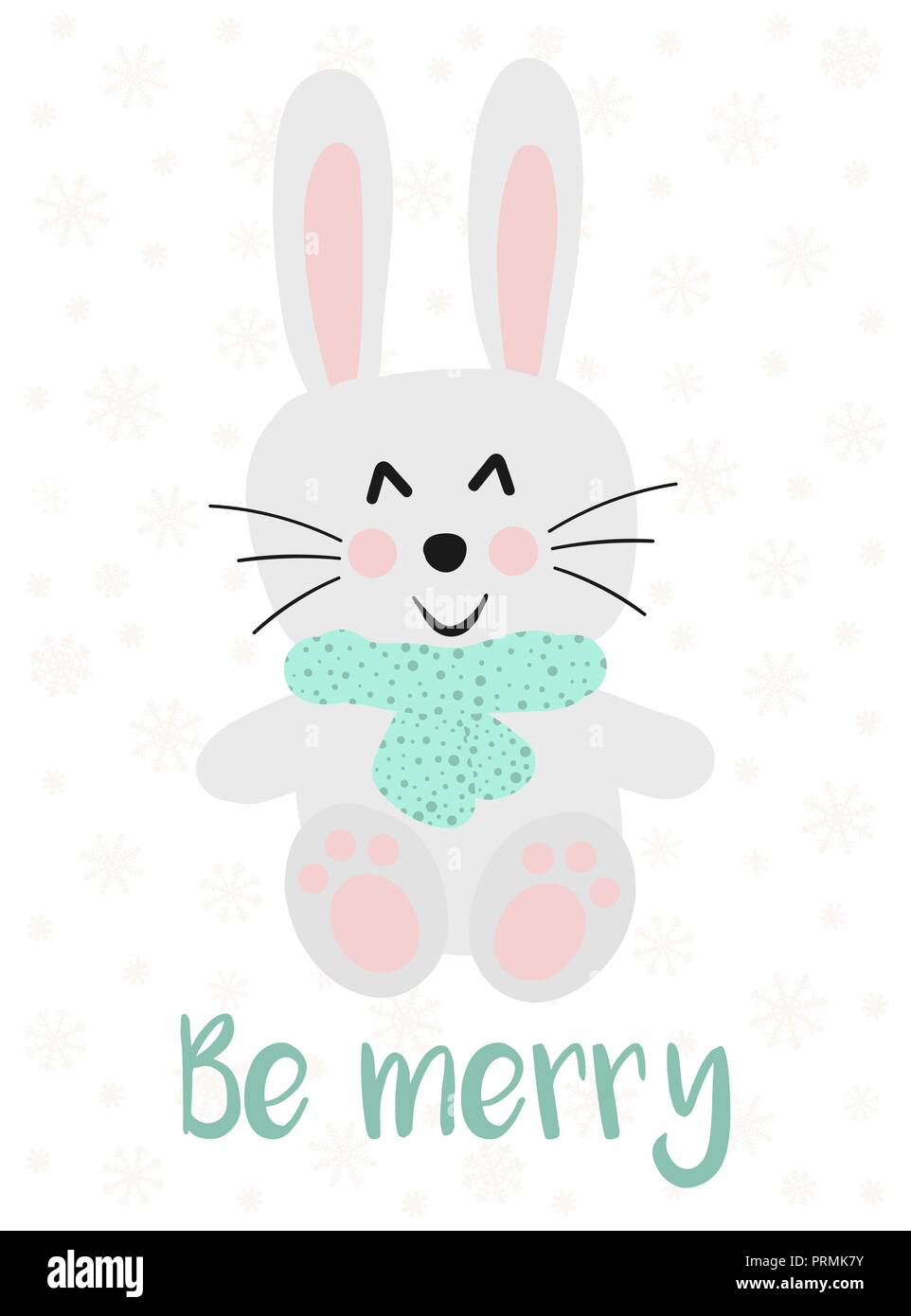 vector illustration for new year and christmas hand drawn image of a cartoon cute bunny in a scarf on a background of snowflakes with an inscription
