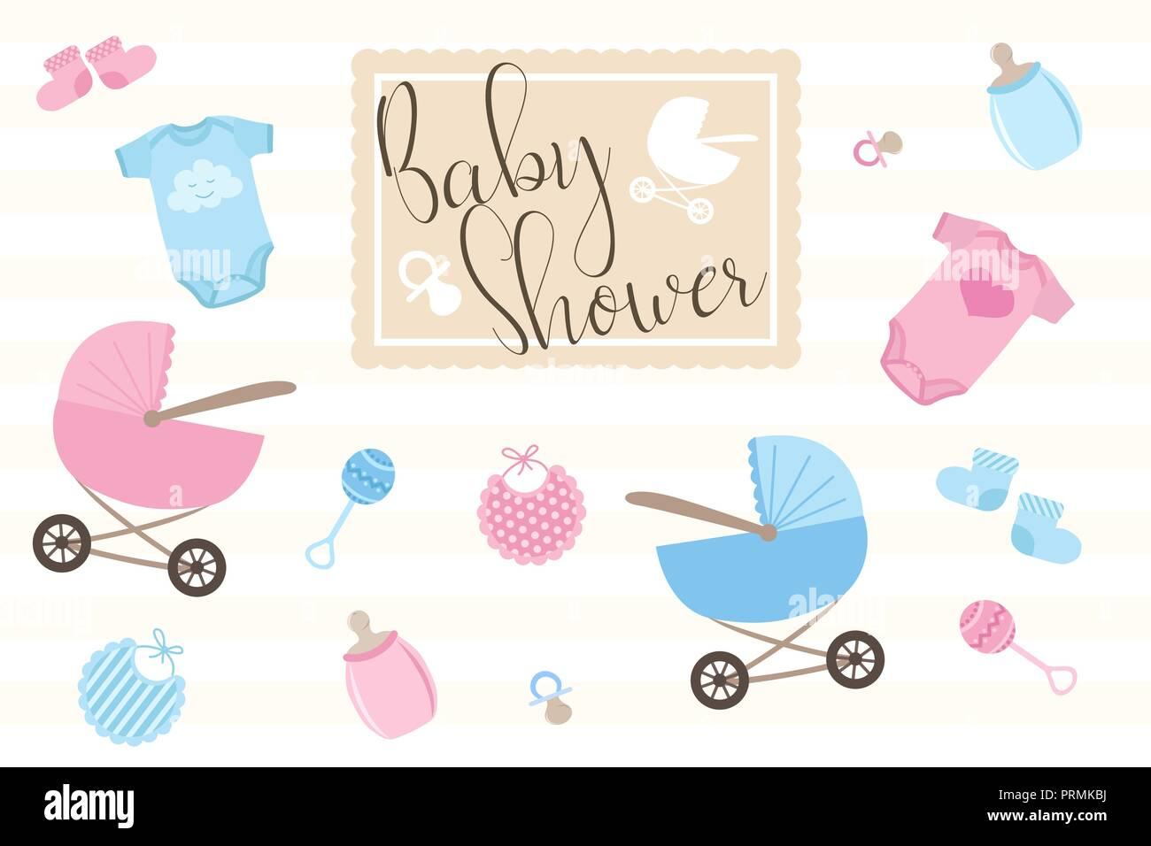 Set of items for birthday cards for newborns. Illustration for boys and girls in blue and pink shades on a light background with the inscription baby  - Stock Vector