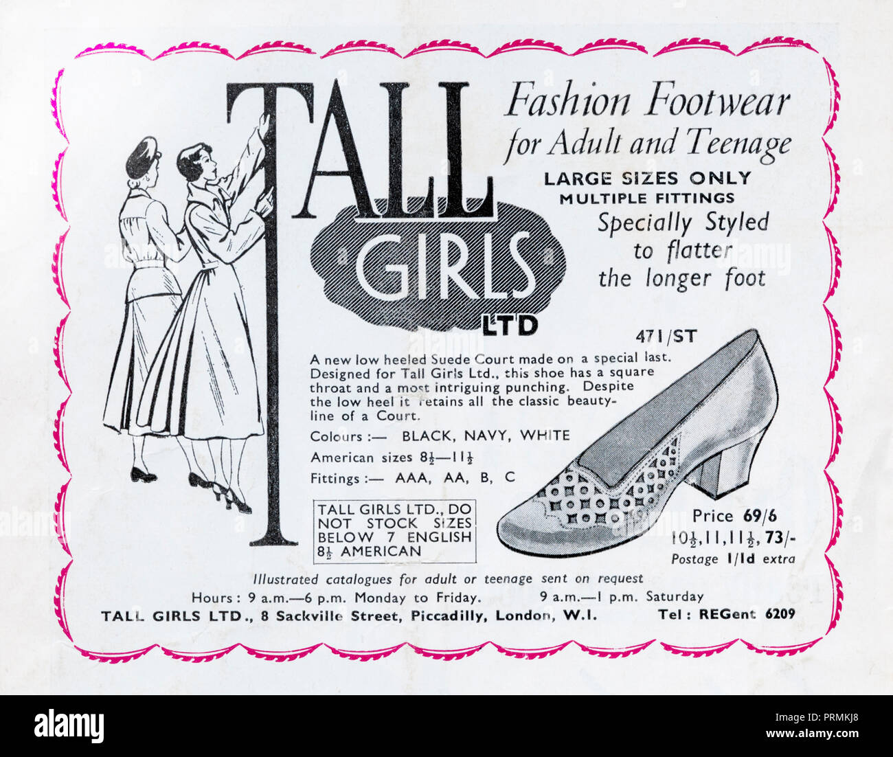 1954 advertisement for Tall Girls Ltd selling low-heeled shoes for tall girls. - Stock Image