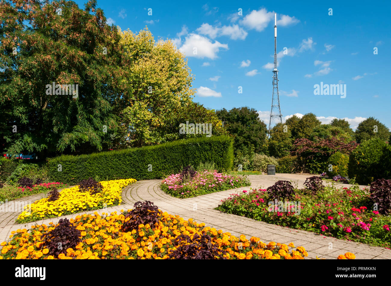 Crystal Palace TV aerial seen over colourful flower beds in Crystal Palace Park. - Stock Image