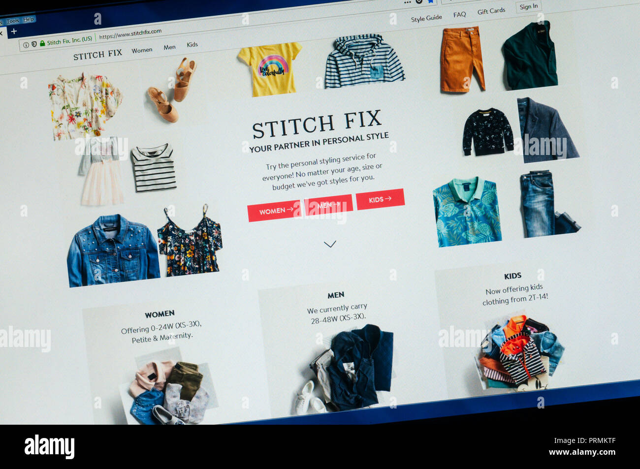 Home page of the American clothing website Stitch Fix. - Stock Image
