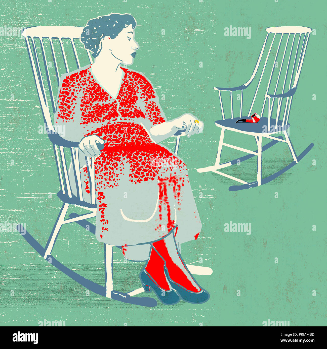 lonely woman in rocking chair - Stock Image