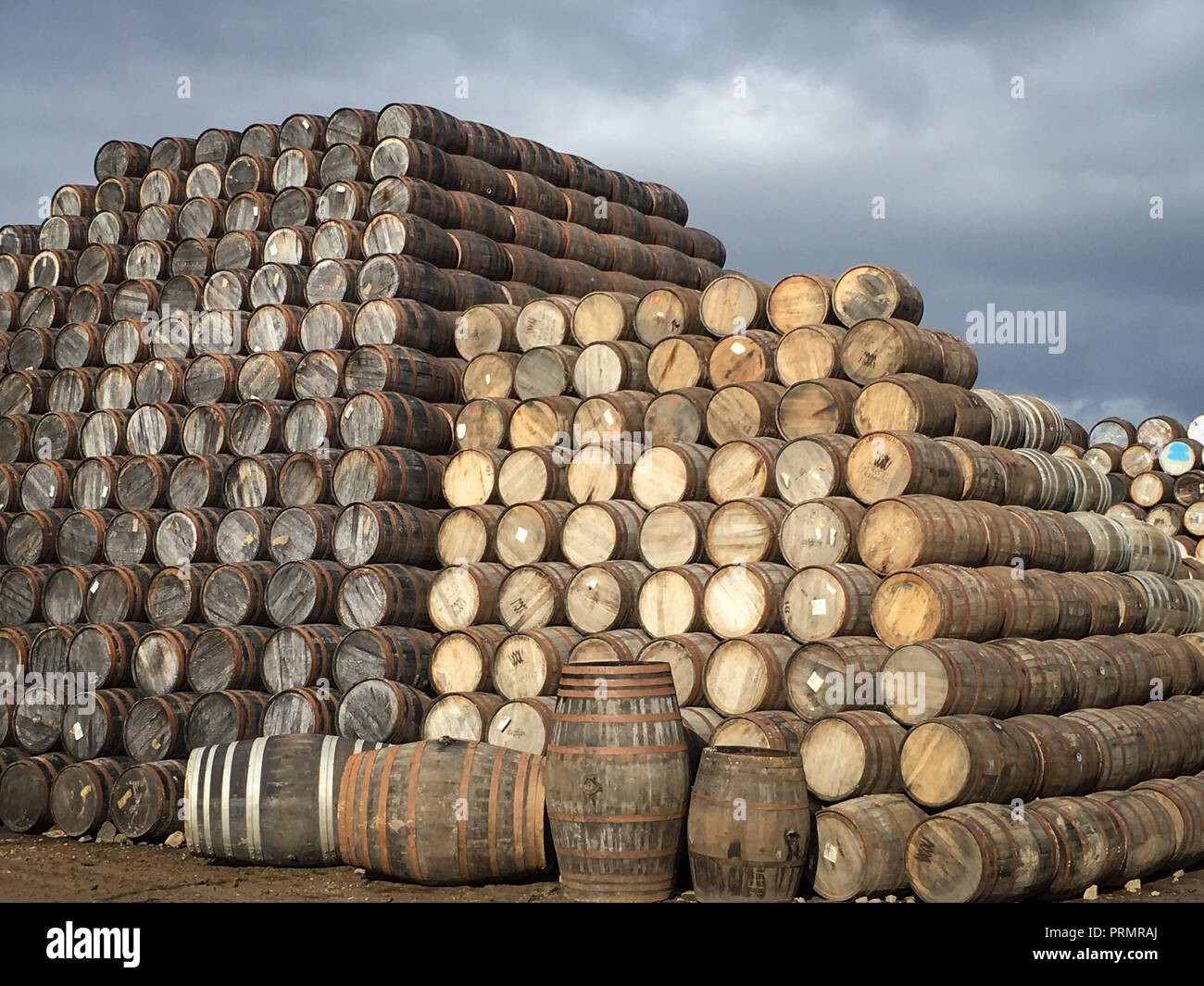 whisky barrels, in Speyside, in Aberlour, Scotland, on 02 October 2018. - Stock Image