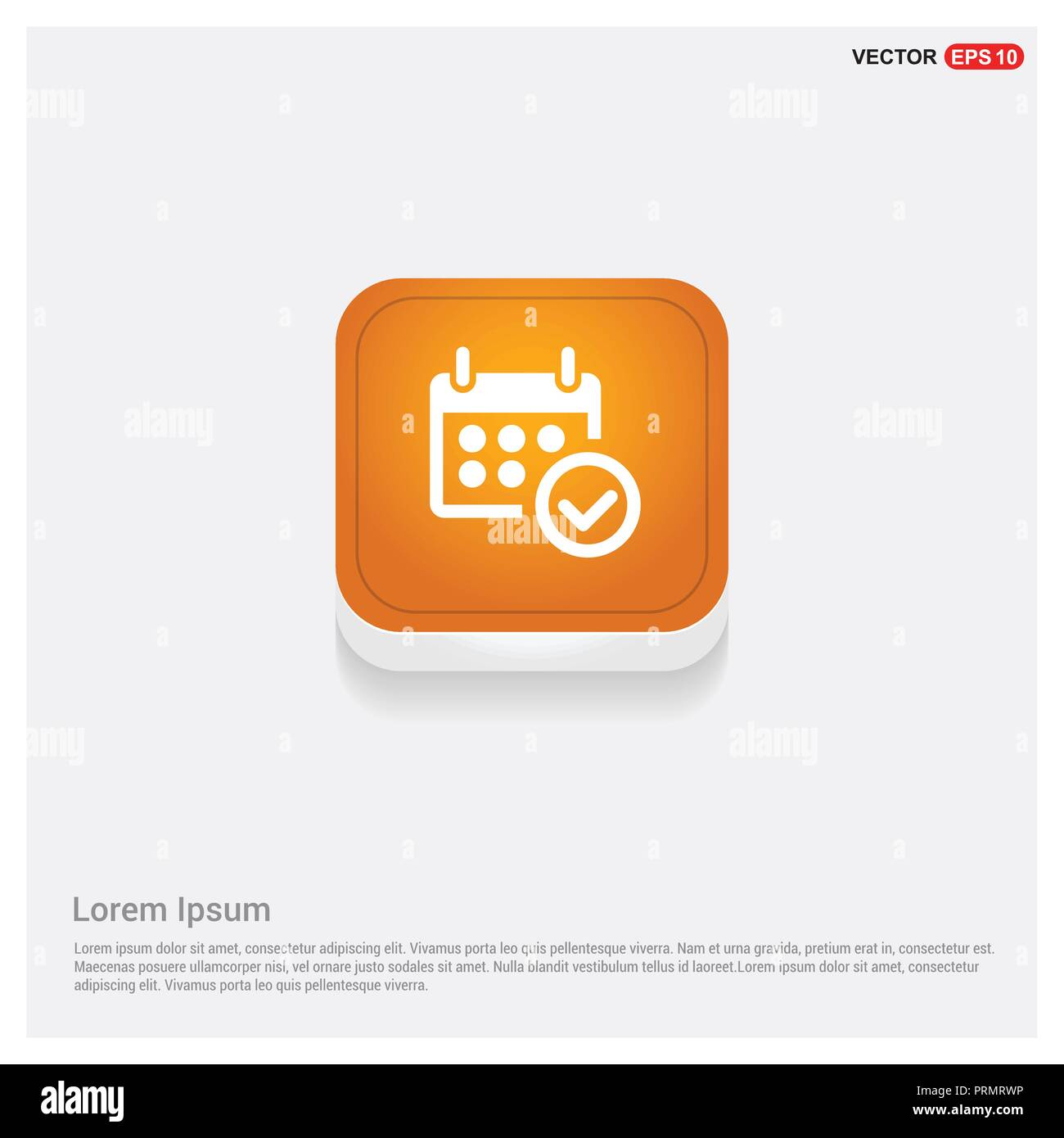 Calendar Icon Orange Abstract Web Button - Free vector icon Stock Vector