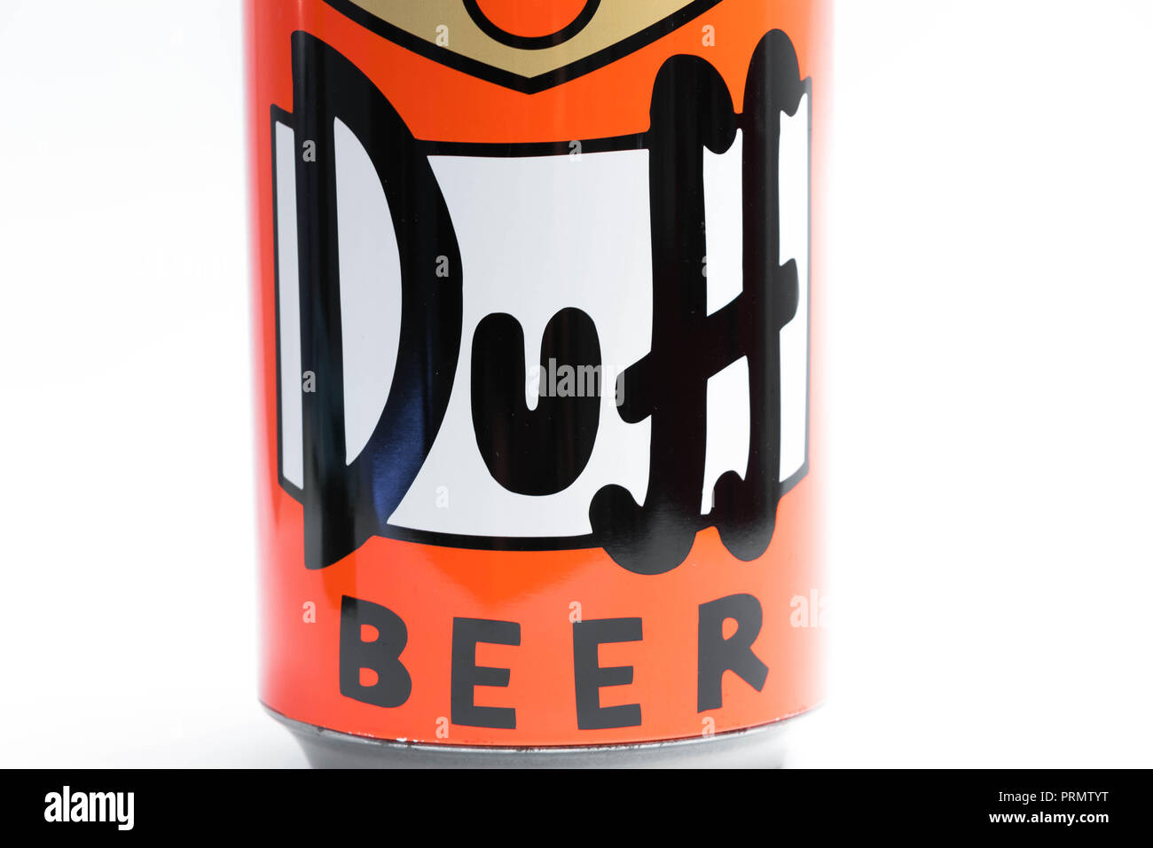 Duff can Beer Simpson close up Homer - Stock Image
