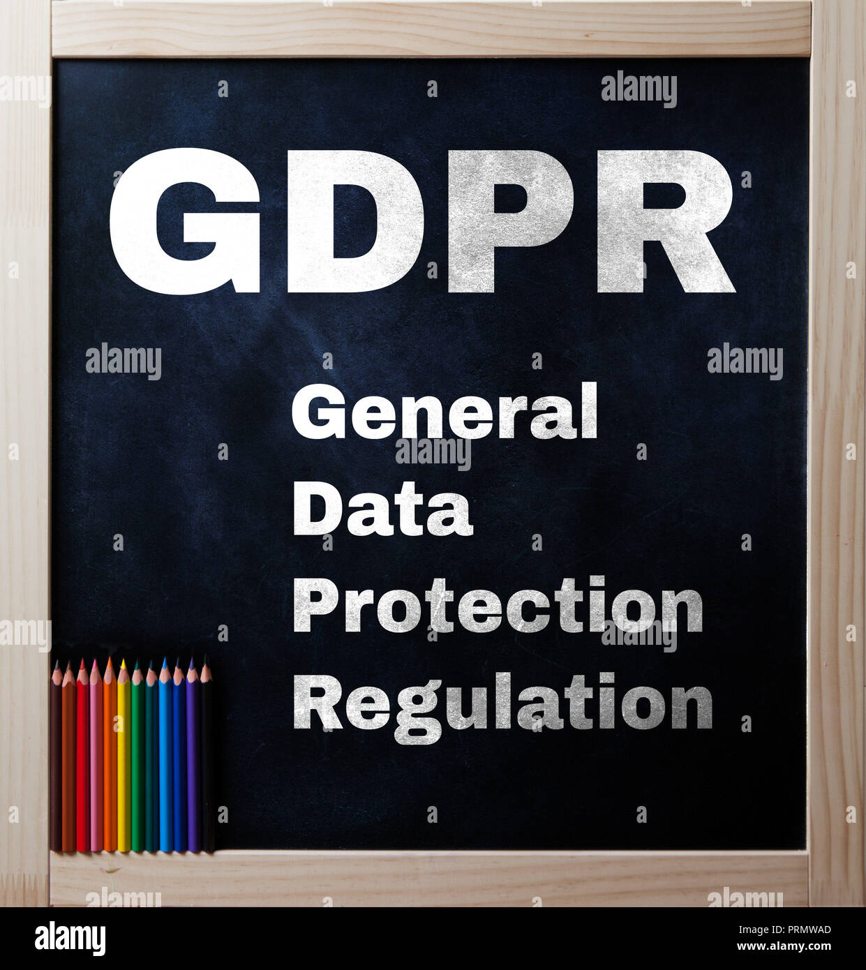 General Data Protectioin Regulation text on black chalkboard - Stock Image