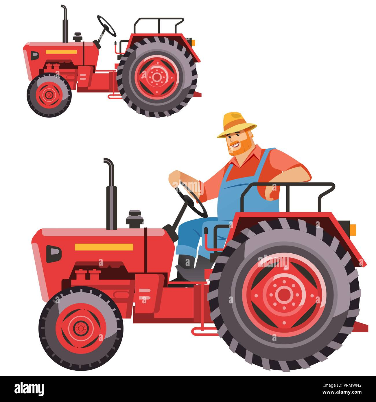 Illustration Of A Farmer Tractor Driving Vintage Tractor On