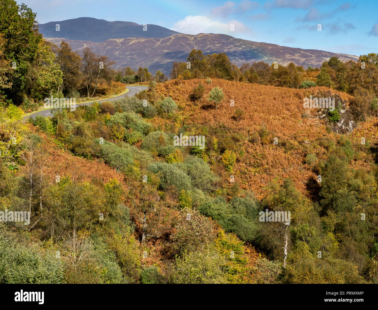 The Dukes Pass, a high level route through the Trossachs in the Scottish Highlands in full autummn or Fall colours - Stock Image