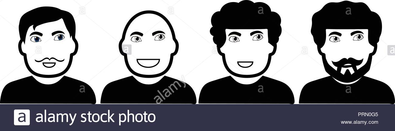Vector black and white set of men`s faces - Stock Image