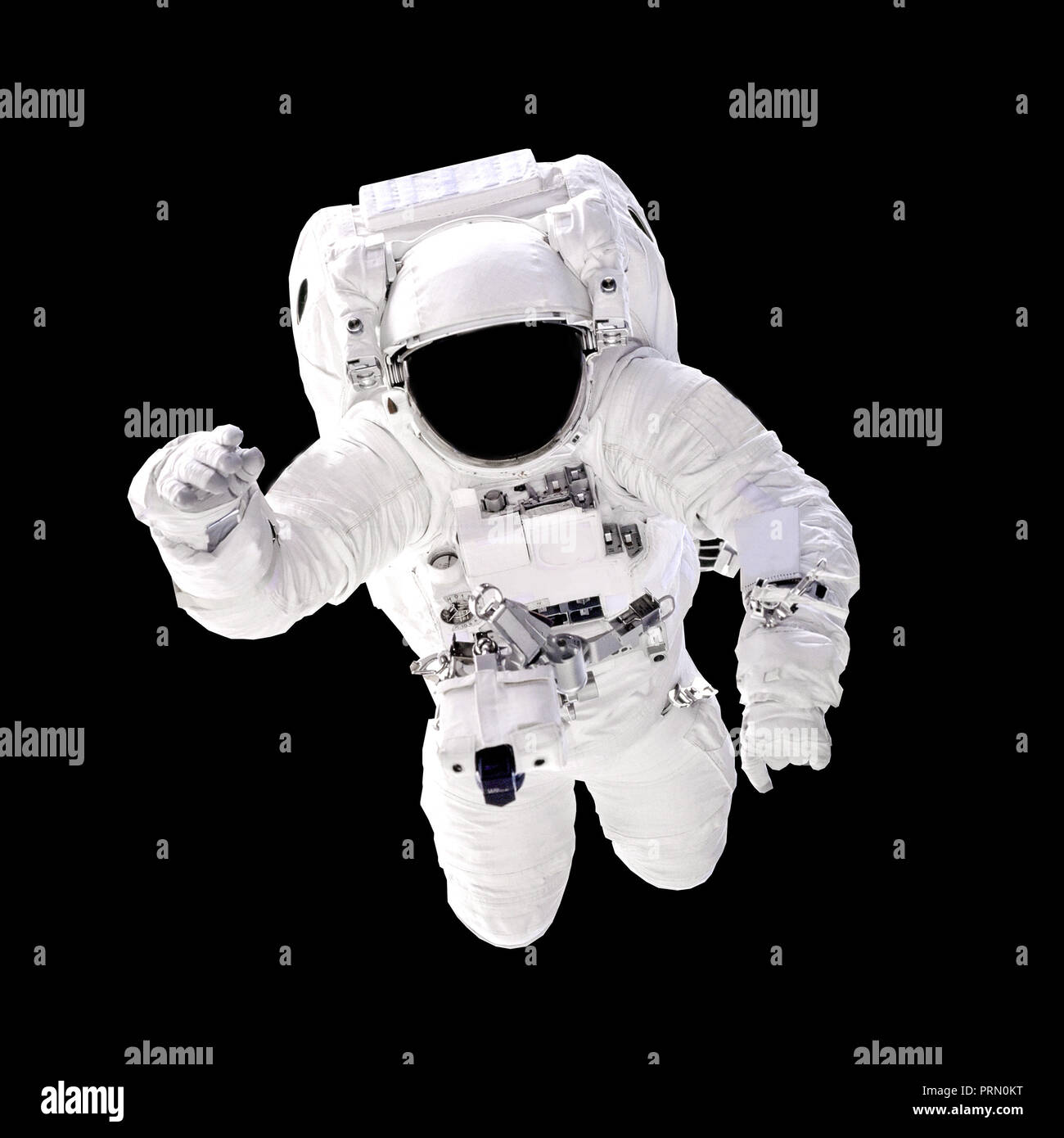 Astronaut in spacesuit close up isolated on black background. Spaceman in outer space. Elements of this image furnished by NASA - Stock Image