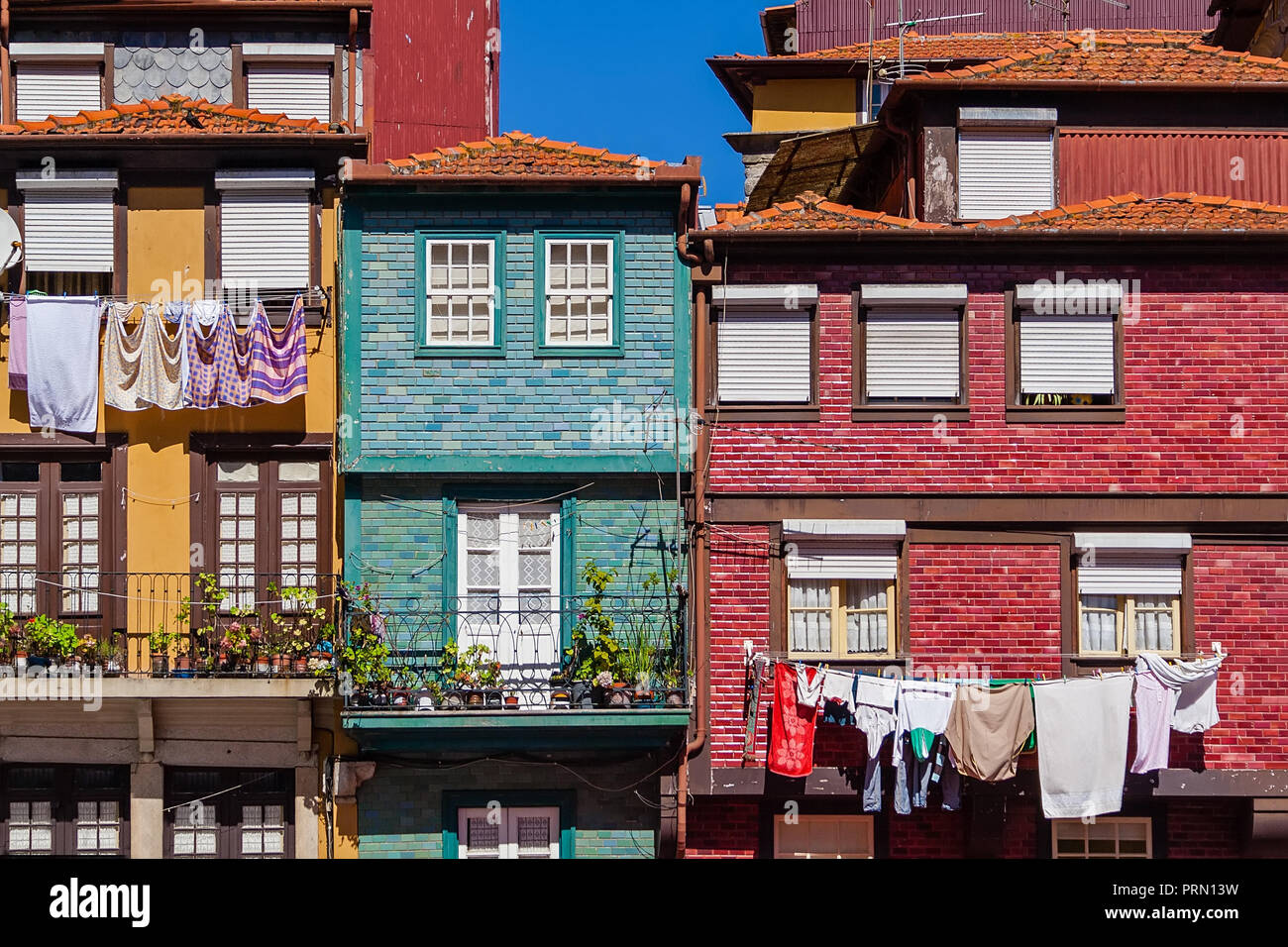 Ribeira District of Porto or Oporto city, Portugal. Typical colorful buildings, with clothes hanging in clothesline drying at sun and flower vases in  - Stock Image