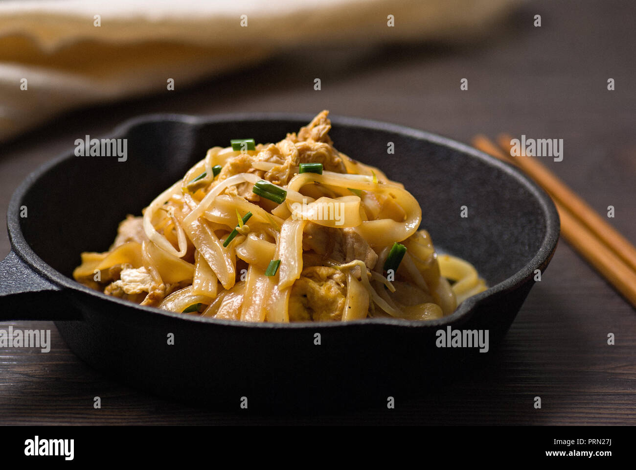 Food Stir fried Rice Noodle Stock Photo