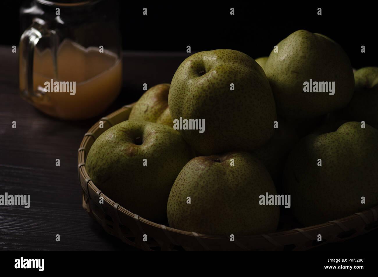 Food dark mood pear Stock Photo
