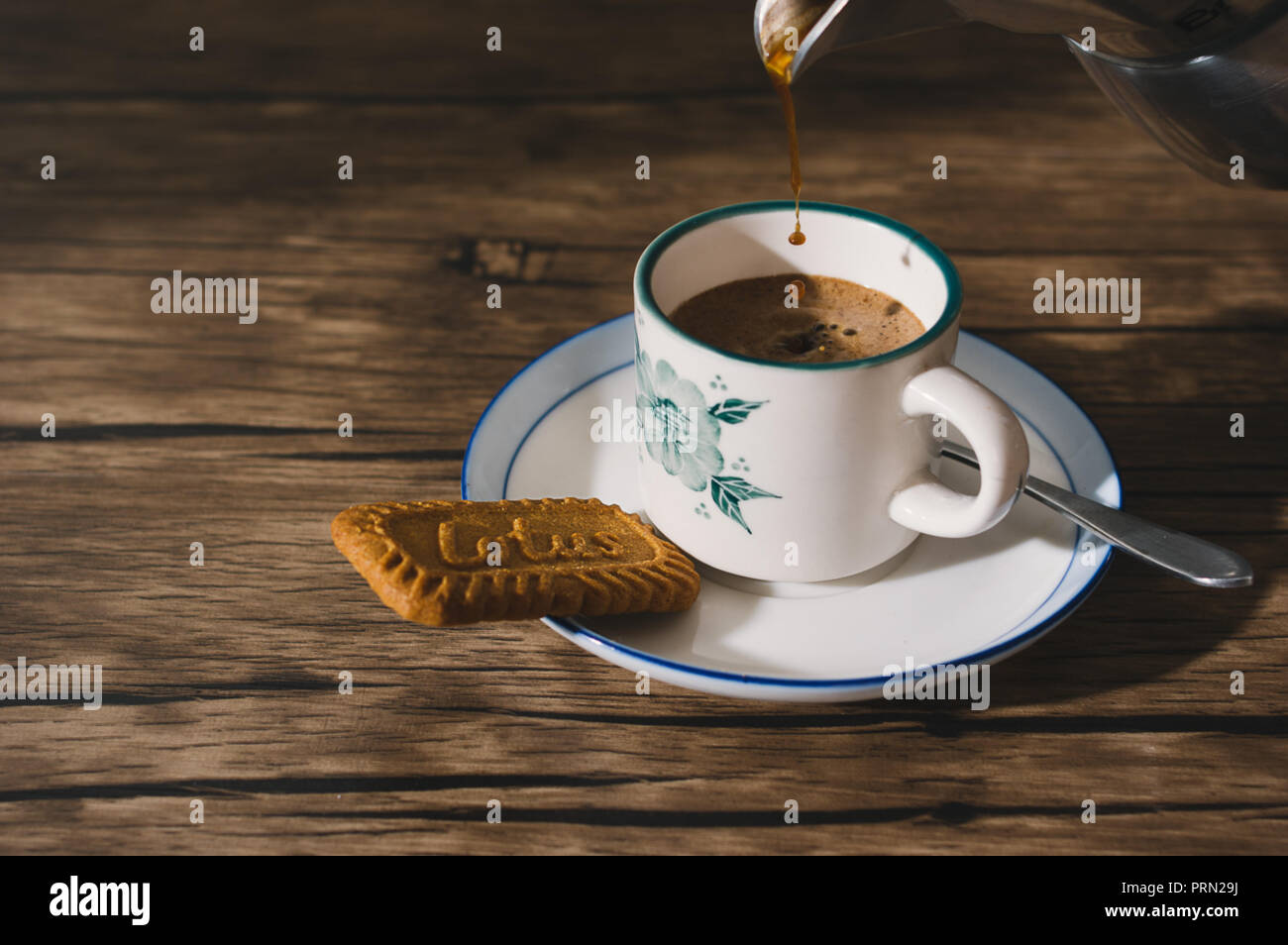 Food espresso coffee with biscuit Stock Photo