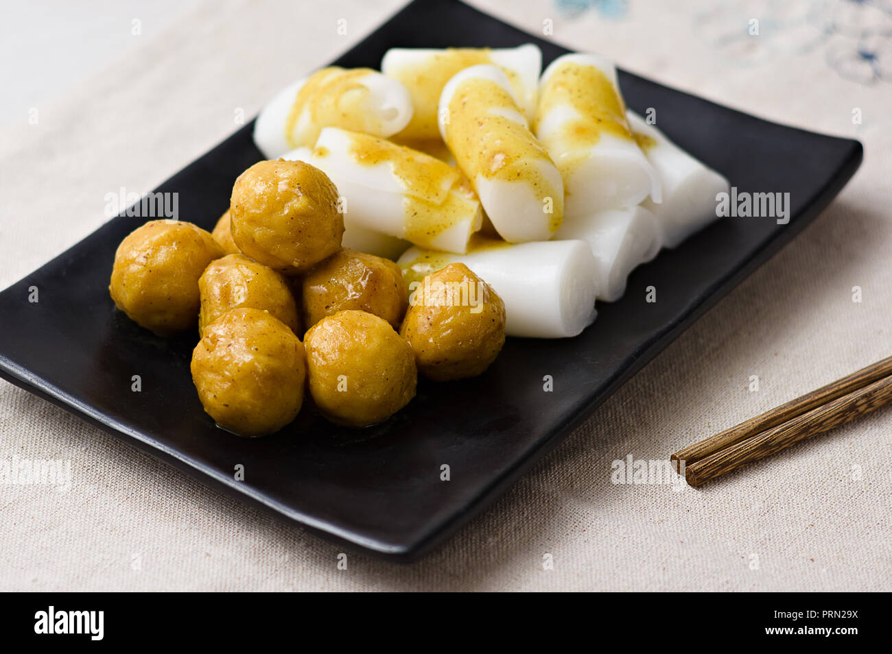 Food curry fish balls with Steamed Vermicelli Roll Stock Photo