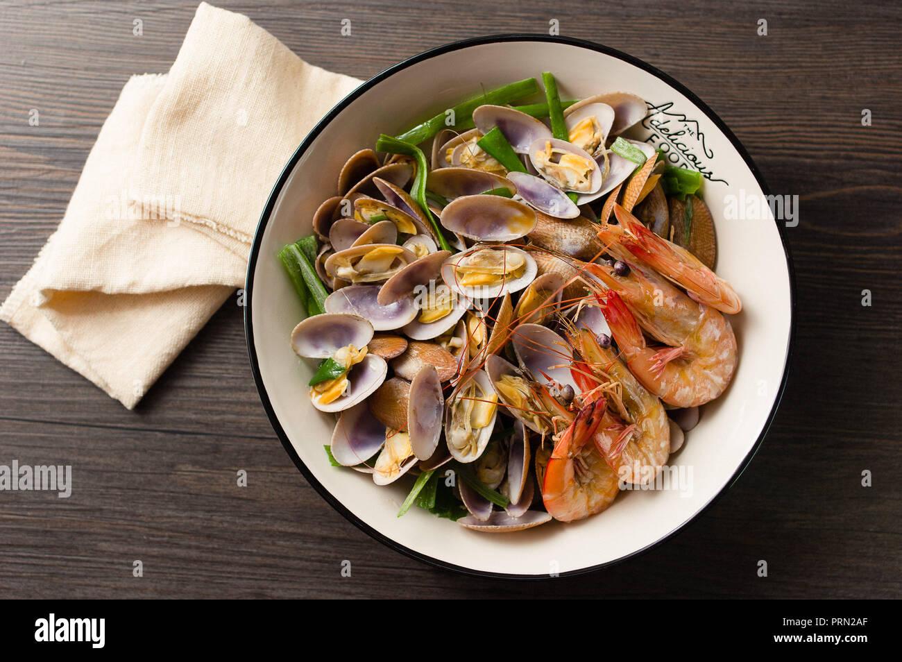 Food seafood soup Stock Photo
