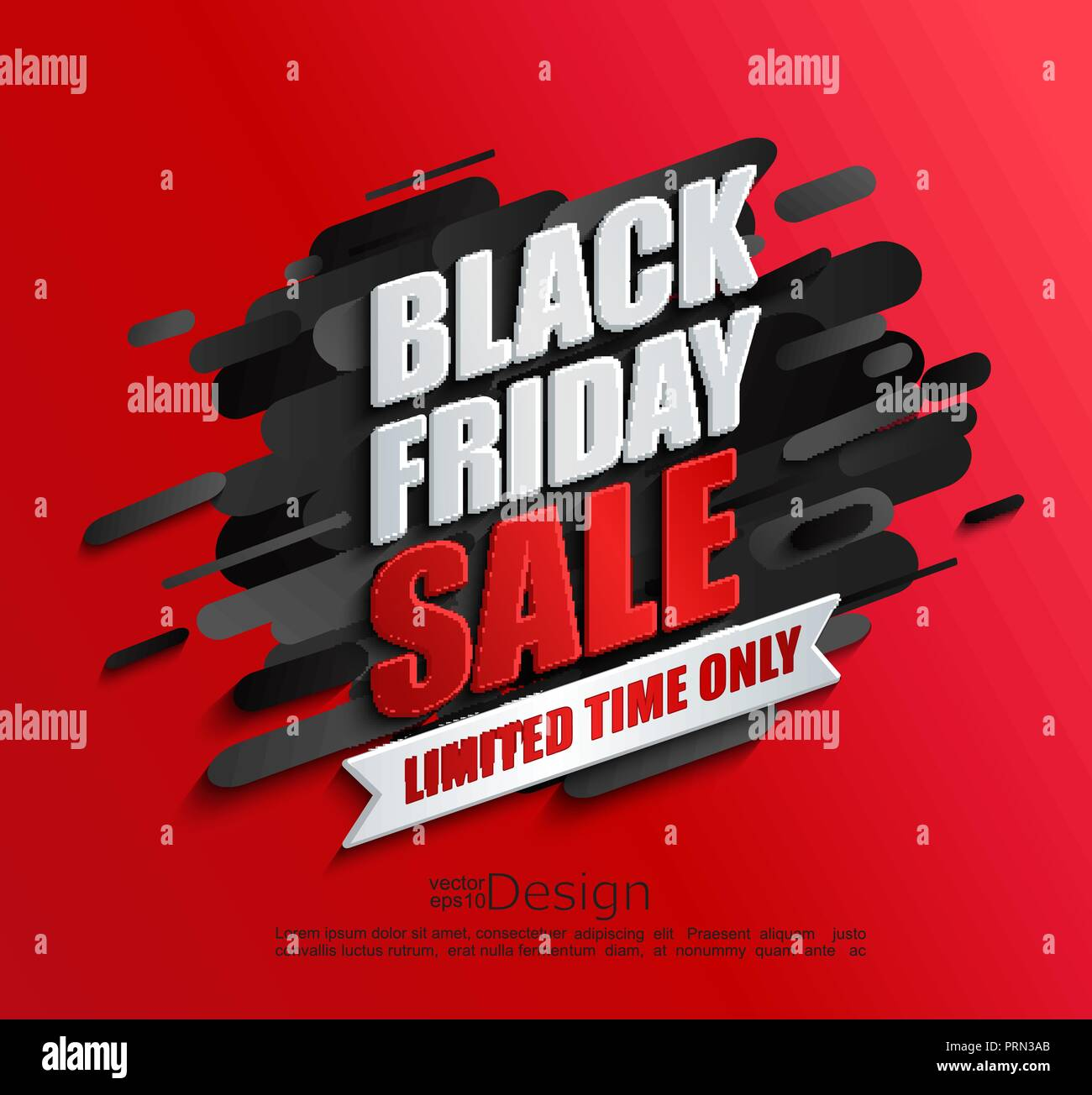 dynamic black friday sale banner on red background perfect template