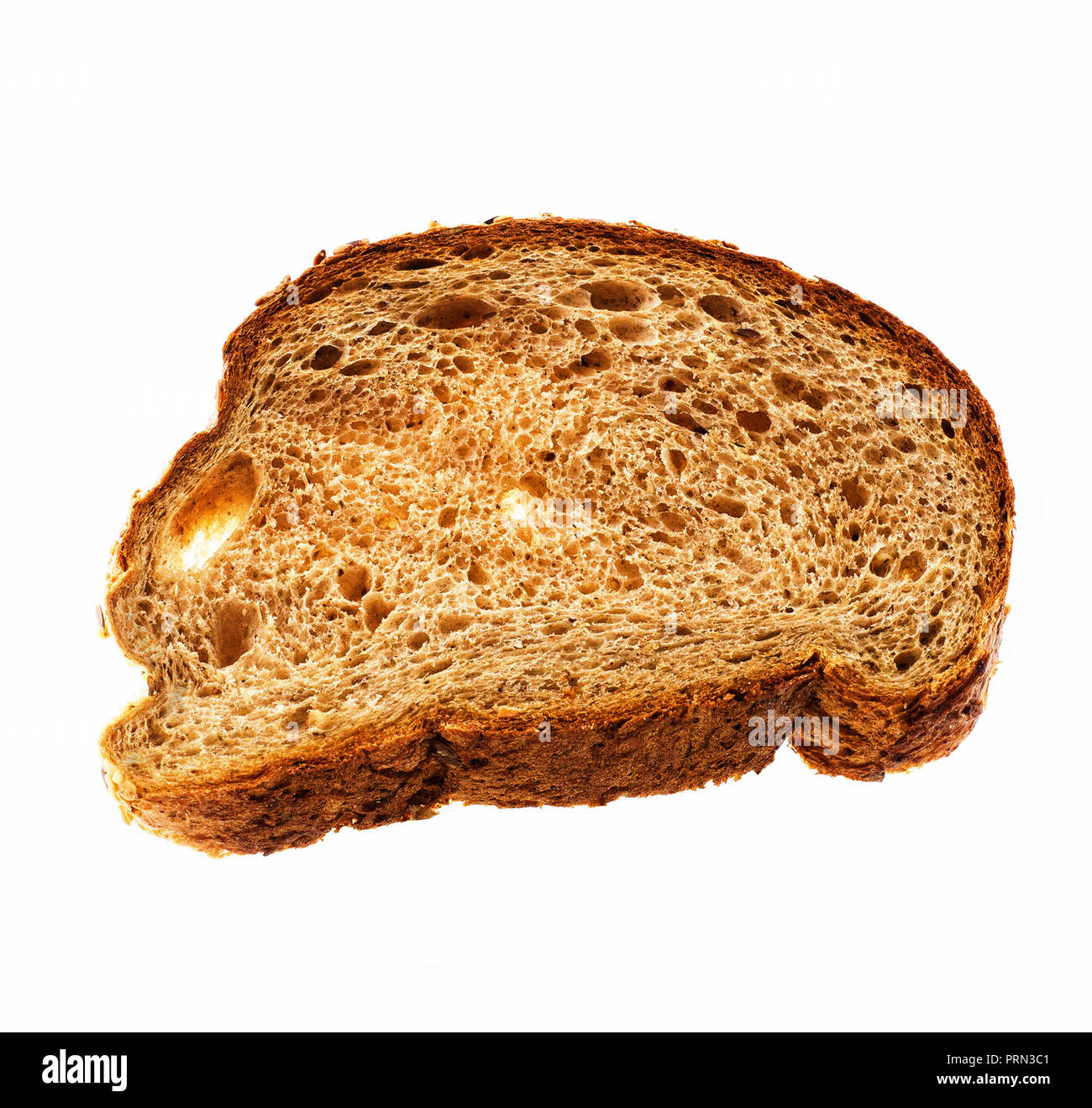 Top view of slice rye wholegrain bread isolated over white background - Stock Image
