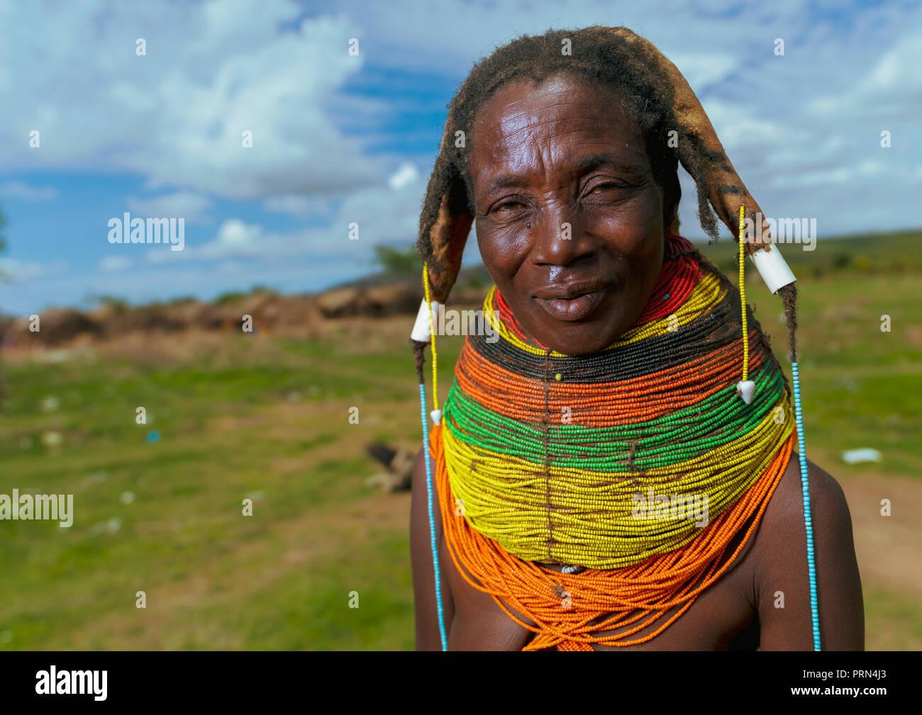 Portrait of a Mumuhuila tribe woman, Huila Province, Chibia, Angola Stock Photo