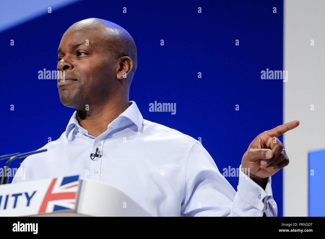 Shaun Bailey at the Conservative Party Conference on Wednesday 3 October 2018 held at ICC Birmingham , Birmingham . Pictured: Shaun Bailey is a British politician and youth worker, who is the Conservative Party's candidate for the London mayoral election in 2020. Picture by Julie Edwards. - Stock Image