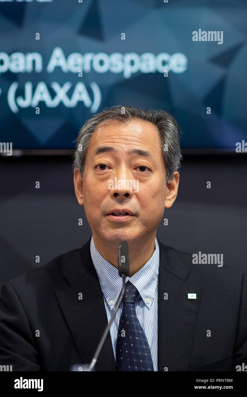03 October 2018, Bremen: Hiroshi Yamakawa, President of Japan Aerospace Exploration Agency (JAXA), speaks at the press conference on the landing of the lander 'Mascot' on the asteroid Ryugu. The 'Hayabusa2' probe of the Japanese space agency JAXA has brought the lander to the asteroid. The German Aerospace Center has developed and built 'Mascot' in collaboration with the French Space Agency CNES. Photo: Mohssen Assanimoghaddam/dpa - Stock Image