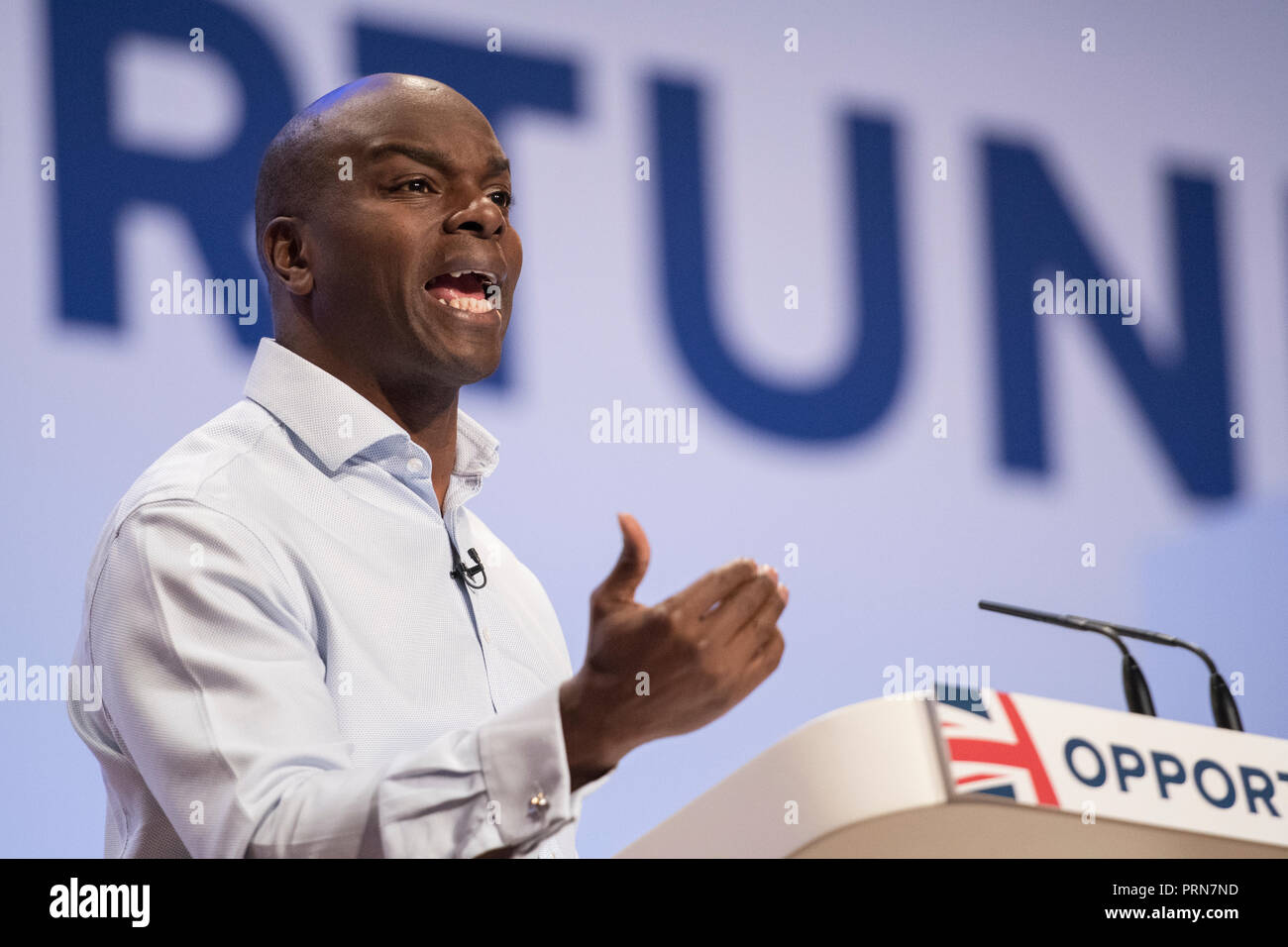 Birmingham, UK. 3 October 2018 - Conservative Party London Mayor candidate Shaun Bailey speech at Conservative Party Conference 2018 Credit: Benjamin Wareing/Alamy Live News - Stock Image