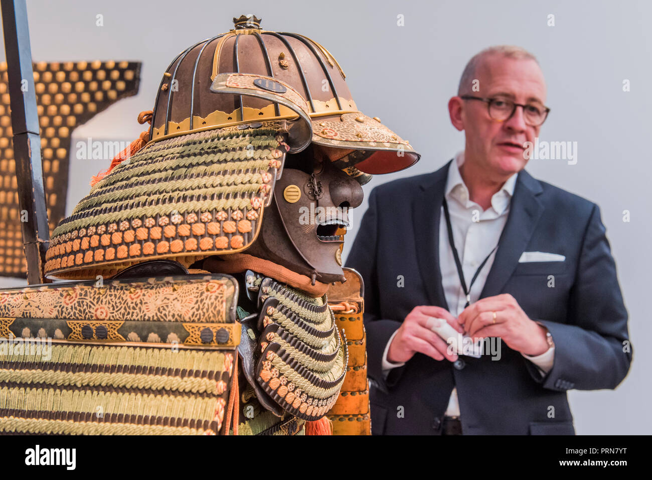 London, UK. 3rd Oct 2018. An 18th century samuri suit of armour in Jean Christophe Charbonner - Frieze Masters London 2018, Regents Park, London. It covers several thousand years of art from 130 of the world's leading modern and historical galleries. The vetted artworks spanning antiquities, Asian art, ethnographic art, illuminated manuscripts, Medieval, modern and post-war, Old Masters and 19th-century, photography and sculpture.  The fair is open to the public 04-07 October. Credit: Guy Bell/Alamy Live News Stock Photo