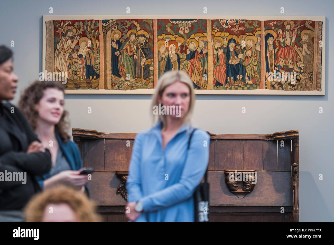 London, UK. 3rd Oct 2018. 15th Centuary Eichstatt tapestry in Sam Foggs - Frieze Masters London 2018, Regents Park, London. It covers several thousand years of art from 130 of the world's leading modern and historical galleries. The vetted artworks spanning antiquities, Asian art, ethnographic art, illuminated manuscripts, Medieval, modern and post-war, Old Masters and 19th-century, photography and sculpture.  The fair is open to the public 04-07 October. Credit: Guy Bell/Alamy Live News Stock Photo