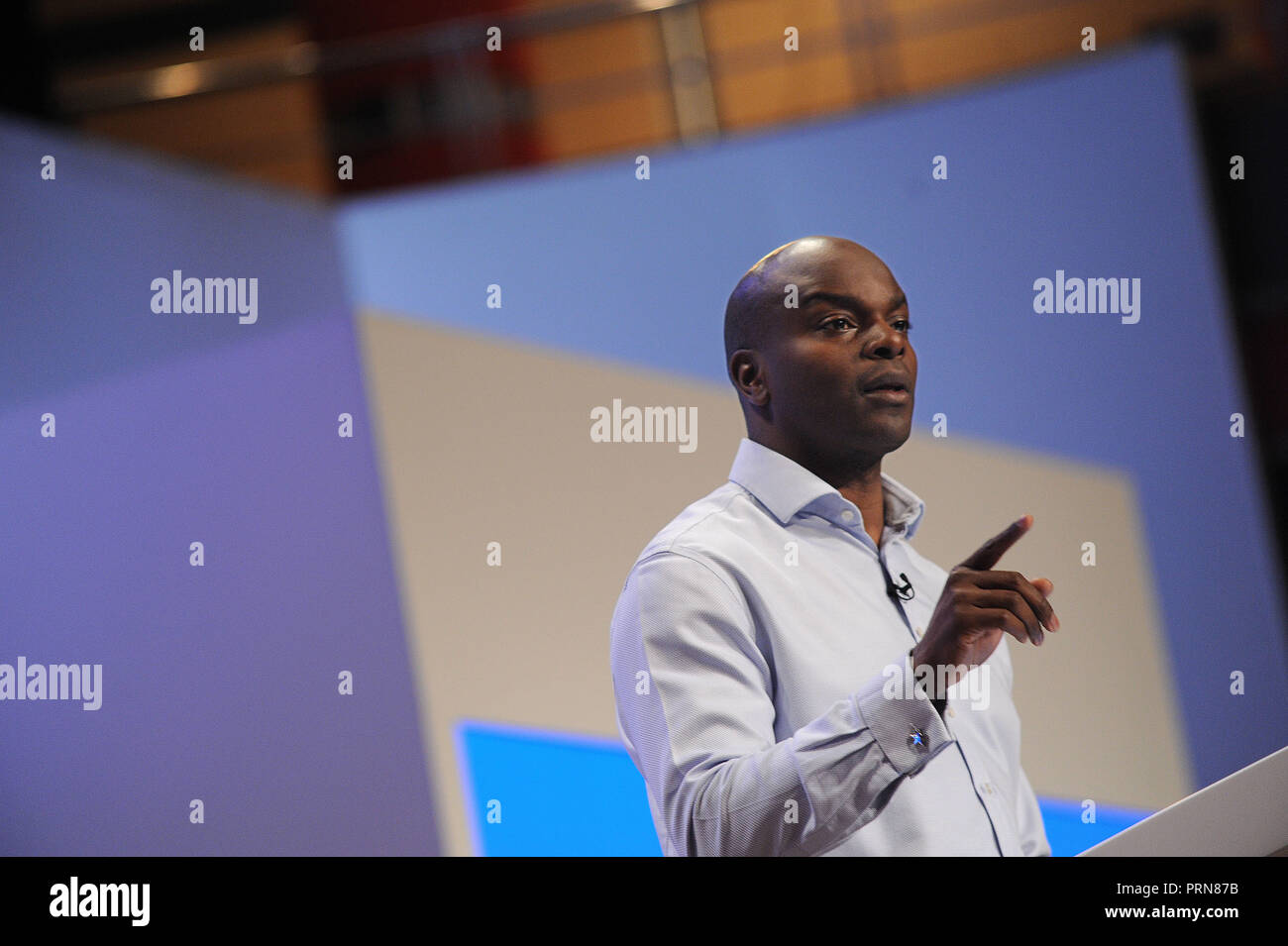 Birmingham, England. 3rd October, 2018.  Shaun Bailey who has been selected as the Conservative candidate for Mayor of London, speaking before the  keynote speech of Theresa May MP, Prime Minister and Leader of the Conservative Party, on the closing session of the fourth day of the Conservative Party annual conference at the ICC.  Kevin Hayes/Alamy Live News - Stock Image