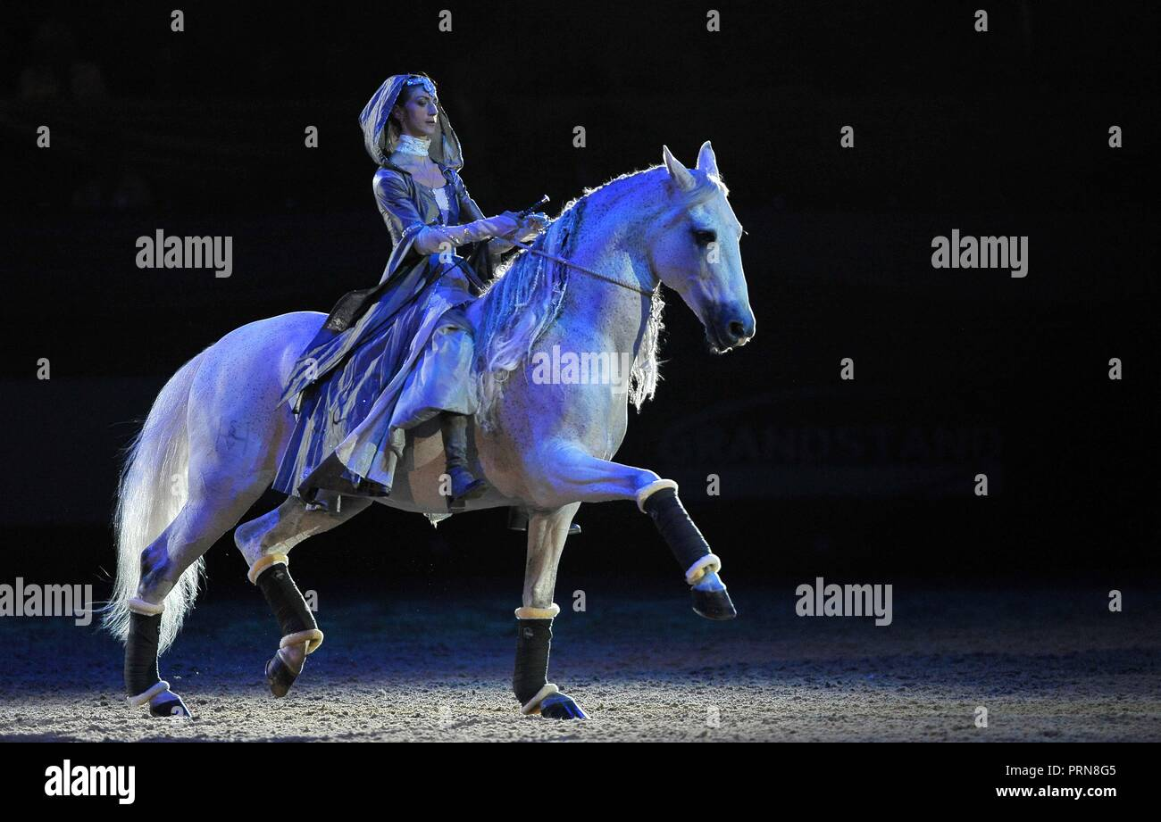 NEC Birmingham, UK. 3rd Oct 2018. Alizee Froment L'Espirit Equestre. Horse of the year show (HOYS). National Exhibition Centre (NEC). Birmingham. UK. 03/10/2018. Credit: Sport In Pictures/Alamy Live News - Stock Image
