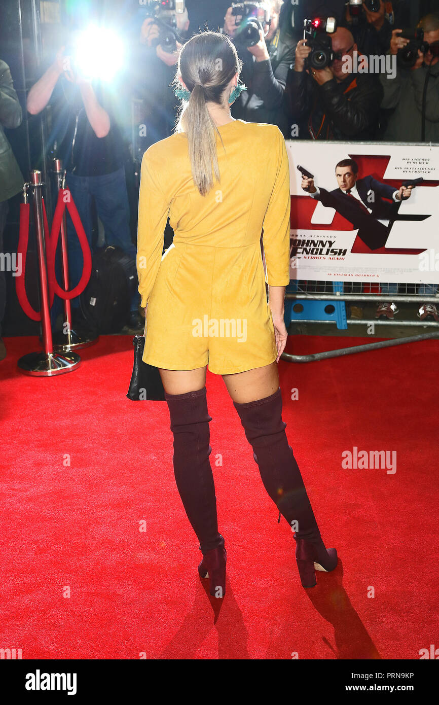 London, UK. 3rd October, 2018. Emma Conybeare, Johnny English Strikes Again - Special screening, Curzon Mayfair, London, UK, 03 October 2018, Photo by Richard Goldschmidt Credit: Rich Gold/Alamy Live News - Stock Image