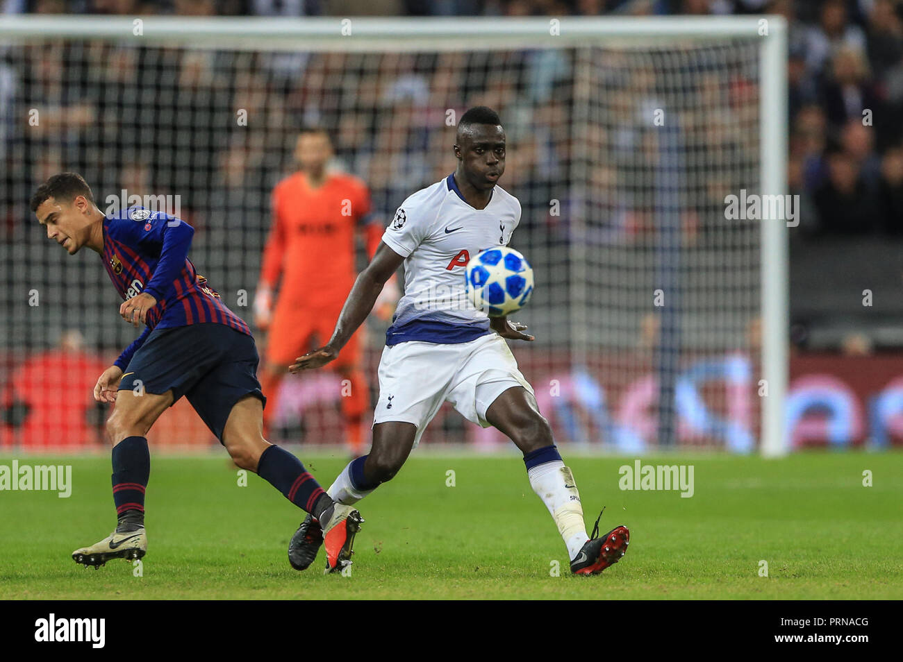 London, UK. 3rd October 2018, Wembley Stadium, London, England; UEFA Champions League, Tottenham v Barcelona ;  Credit: Mark Cosgrove/News Images - Stock Image