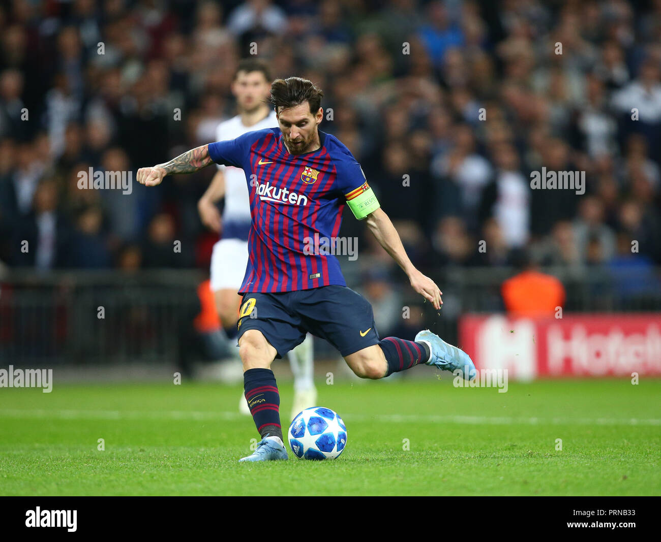London, UK. 3rd October, 2018. October 3, 2018 - Lionel Messi of Barcelona scores 4th goal.during UEFA Champions League Group B match between Tottenham Hotspur and FC Barcelona at Wembley stadium in London, United Kingdom on 3 October 2018 Credit: AFP7/ZUMA Wire/Alamy Live News Credit: ZUMA Press, Inc./Alamy Live News Stock Photo