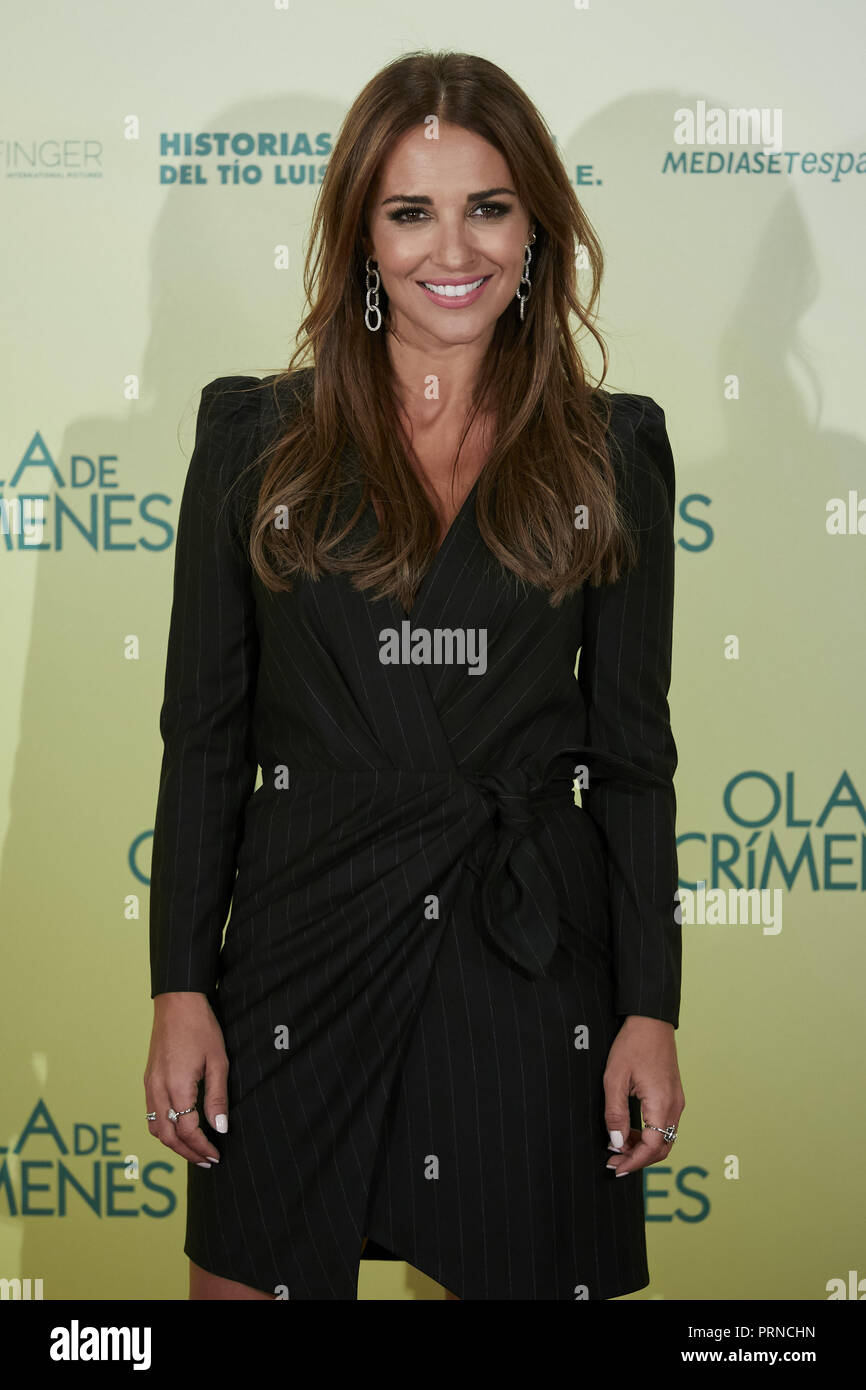 Madrid, Spain. 3rd Oct, 2018. Paula Echevarria attends to 'Ola de crimenes' photocall at Urso Hotel in Madrid, Spain. Credit: Legan P. Mace/SOPA Images/ZUMA Wire/Alamy Live News Stock Photo