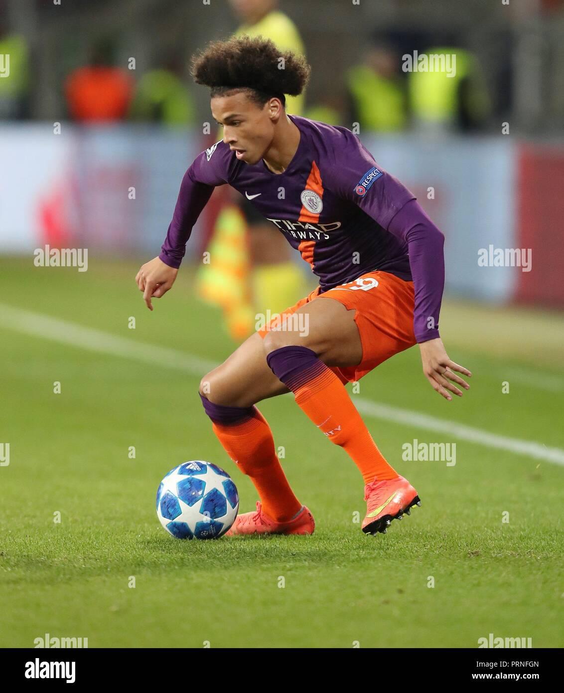 firo: 02.10.2018 Football, Football, Champions League: TSG Hoffenheim - Manchester City 1: 2 single action, Leroy Sane,   usage worldwide - Stock Image
