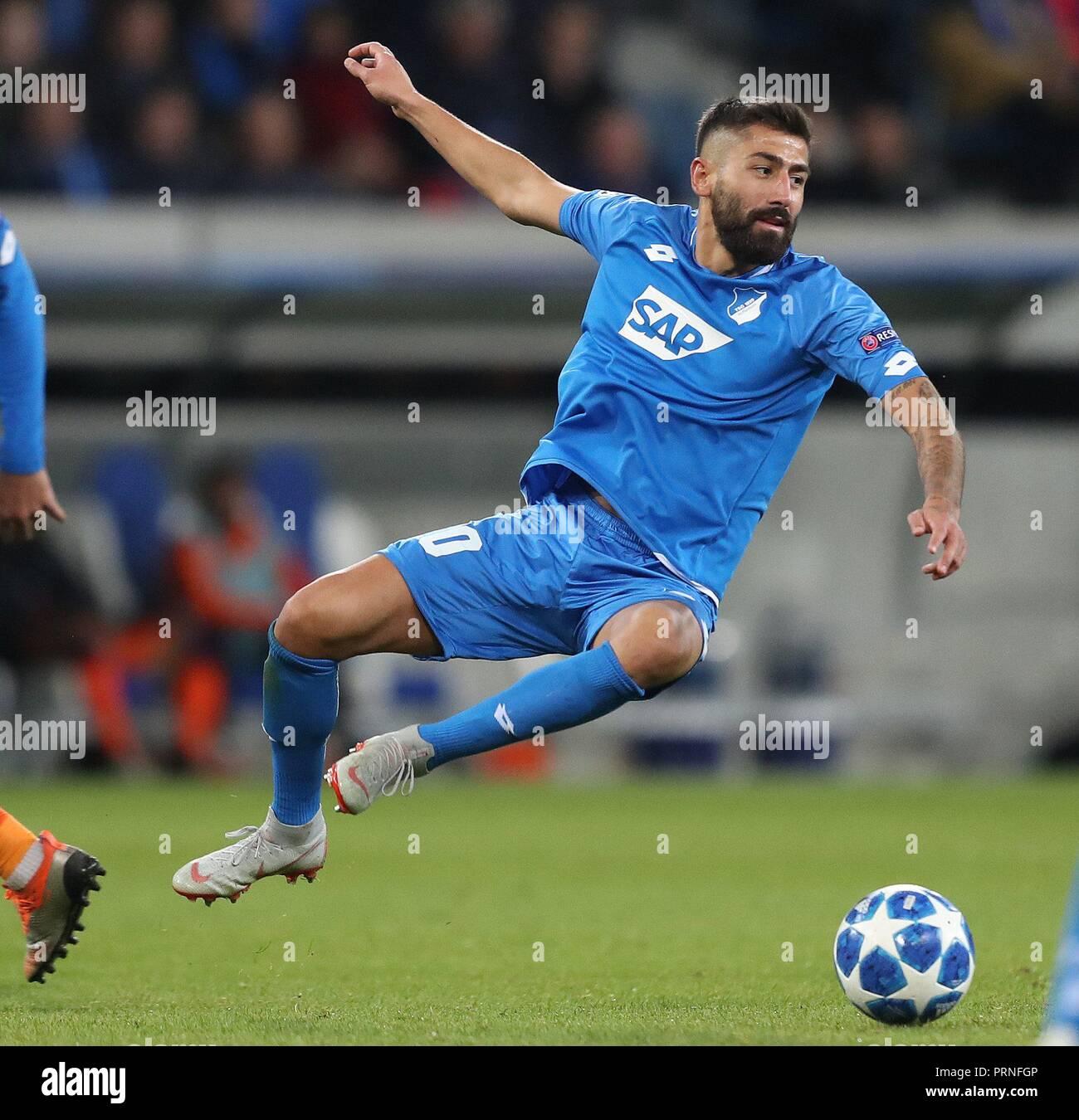 firo: 02.10.2018 Football, Football, Champions League: TSG Hoffenheim - Manchester City 1: 2 single action, Kerem Demirbay   usage worldwide - Stock Image