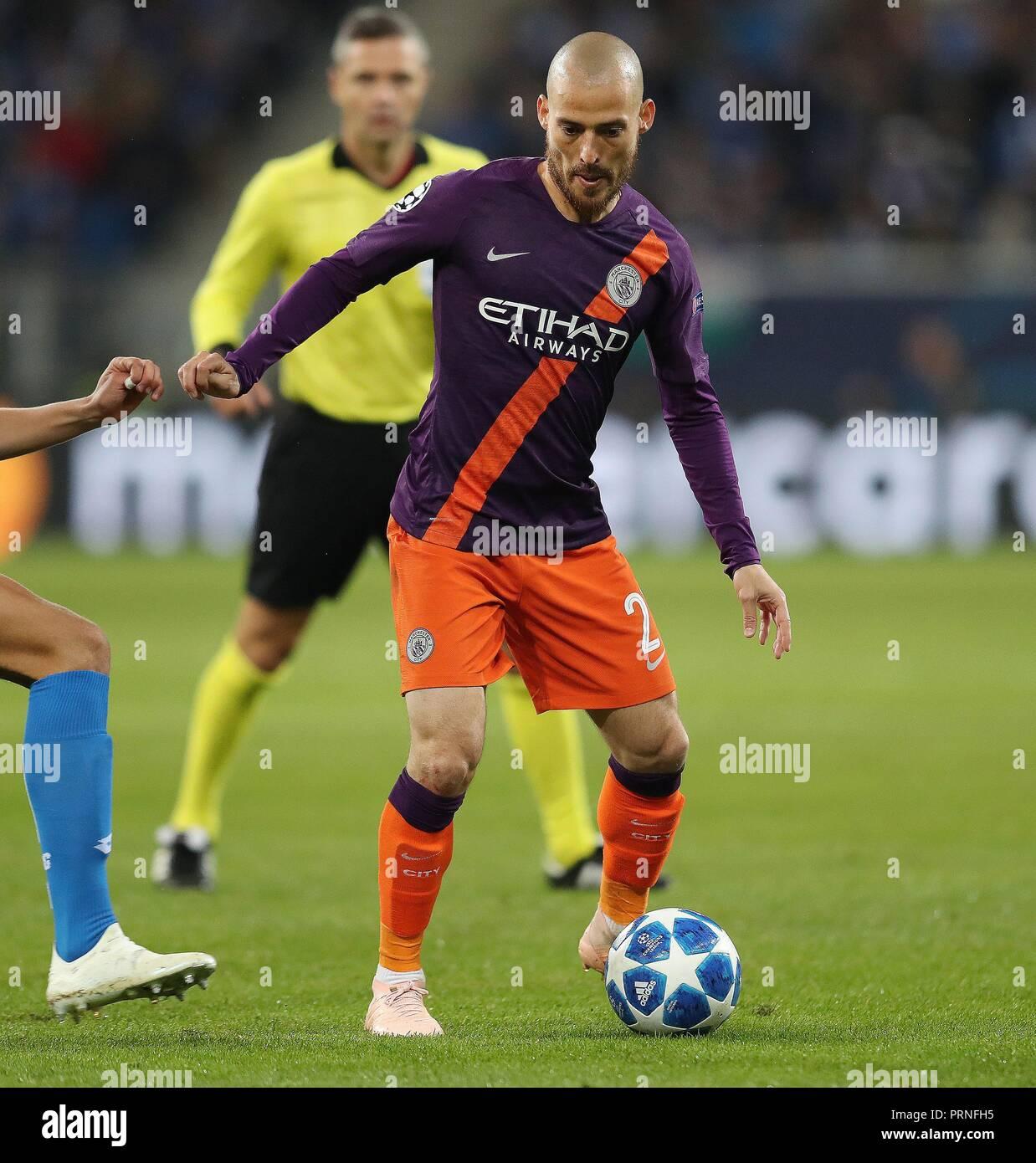 firo: 02.10.2018 Football, Football, Champions League: TSG Hoffenheim - Manchester City 1: 2 single action, David Silva   usage worldwide - Stock Image