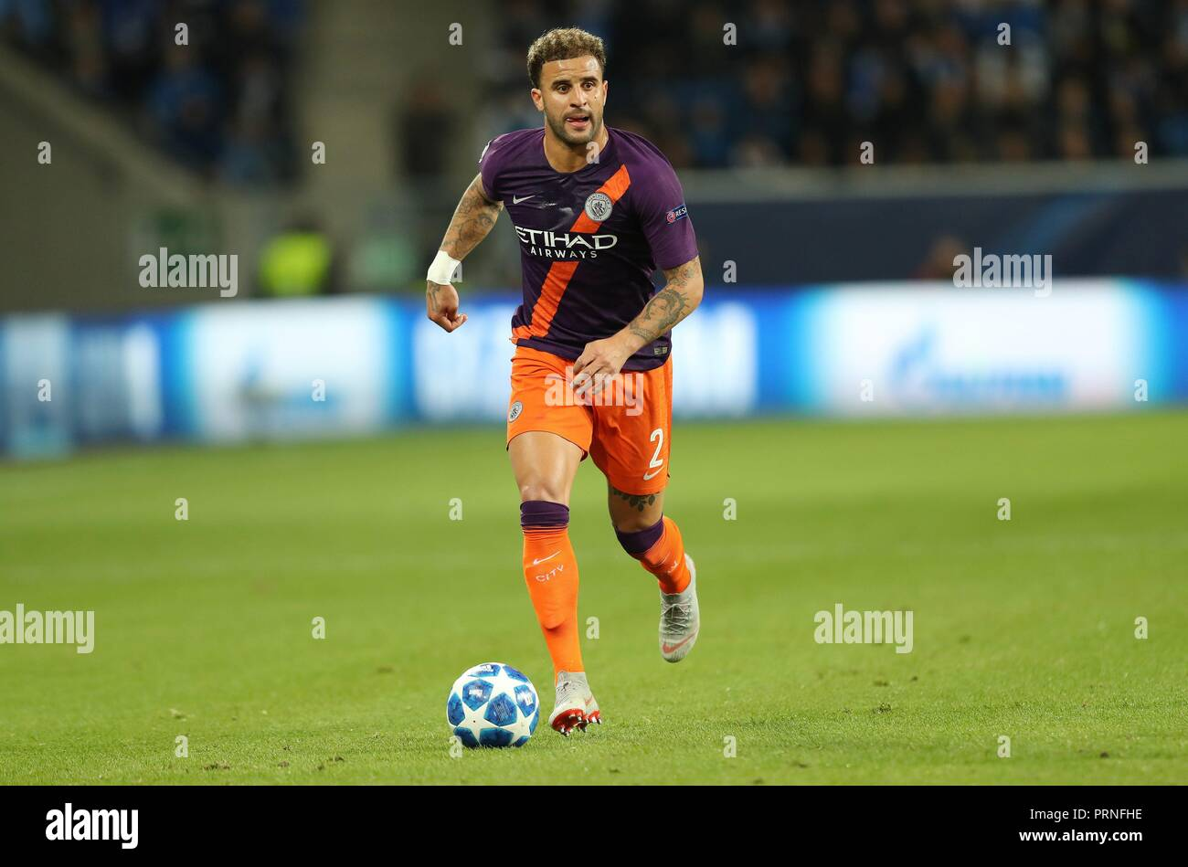 firo: 02.10.2018 Football, Football, Champions League: TSG Hoffenheim - Manchester City 1: 2 Kyle Walker, single action   usage worldwide - Stock Image