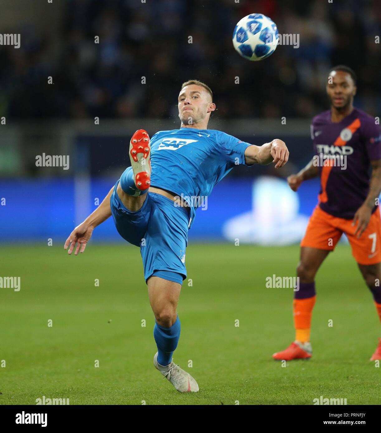 firo: 02.10.2018 Football, Football, Champions League: TSG Hoffenheim - Manchester City 1: 2 Pavel Kaderábek, Pavel Kaderabek, single action   usage worldwide - Stock Image