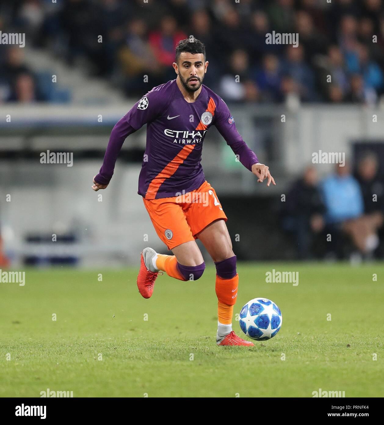 firo: 02.10.2018 Football, Football, Champions League: TSG Hoffenheim - Manchester City 1: 2 single action, Riyad Mahrez   usage worldwide - Stock Image