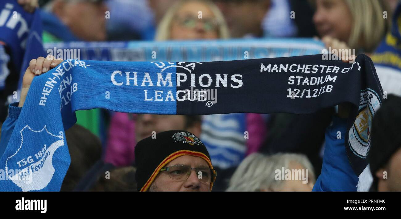 firo: 02.10.2018 Football, Football, Champions League: TSG Hoffenheim - Manchester City 1: 2 fans, TSG, with scarf, depositor   usage worldwide - Stock Image