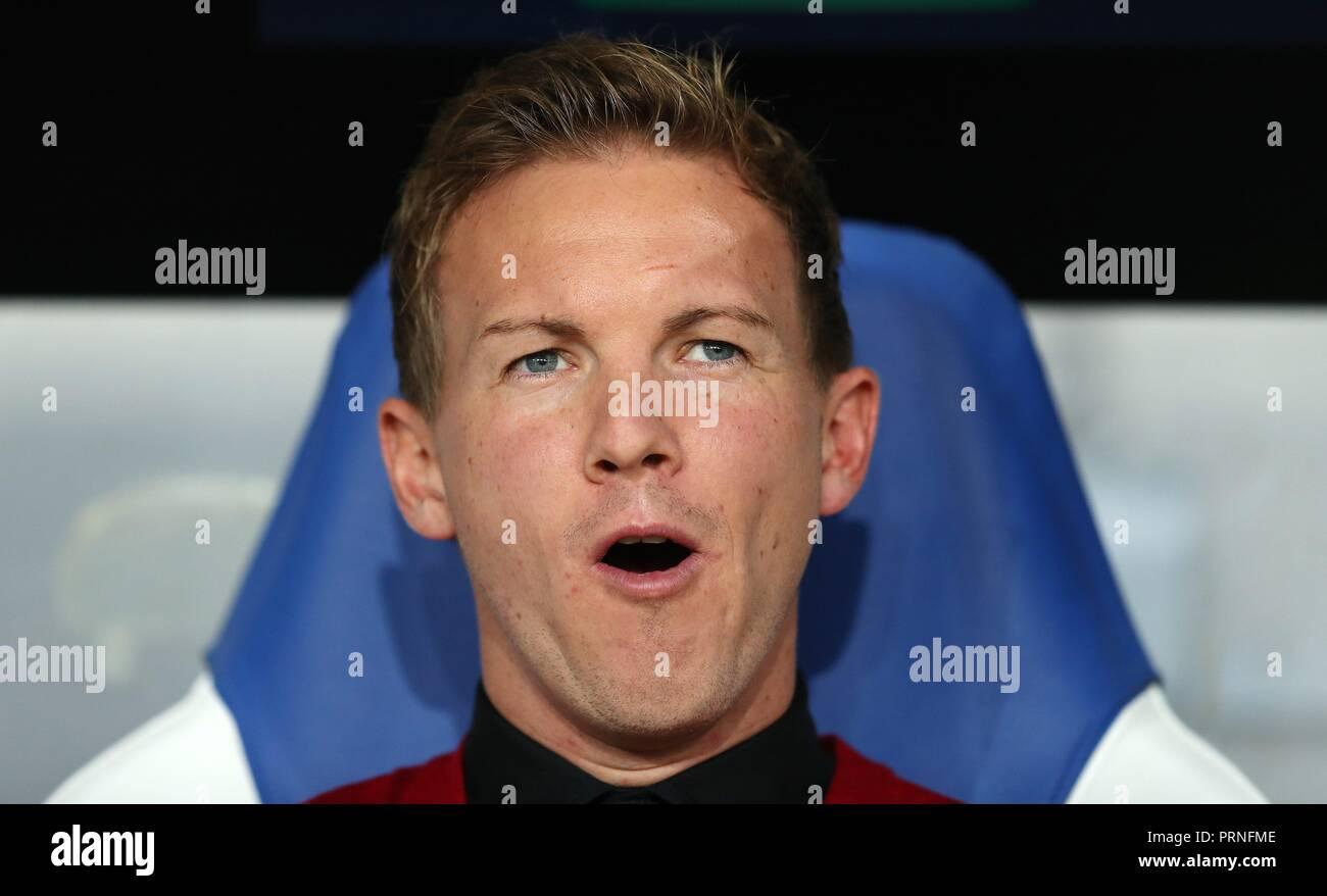 firo: 02.10.2018 Football, Football, Champions League: TSG Hoffenheim - Manchester City 1: 2 coach Julian Nagelsmann, portrait, gesture, laughs   usage worldwide - Stock Image
