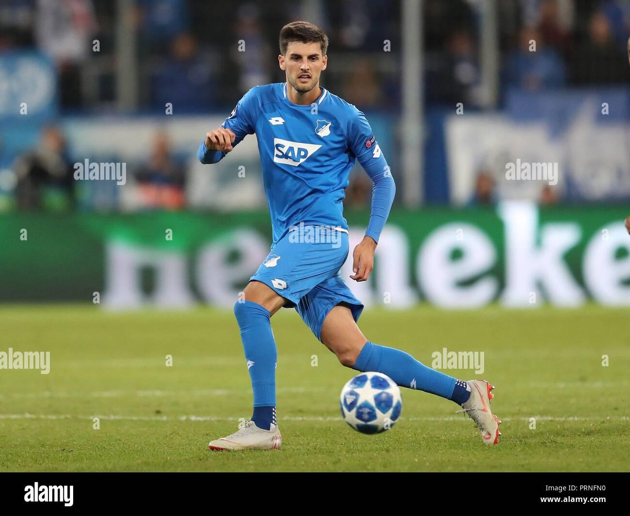 firo: 02.10.2018 Football, Football, Champions League: TSG Hoffenheim - Manchester City 1: 2 Florian Grillitsch, single action   usage worldwide - Stock Image