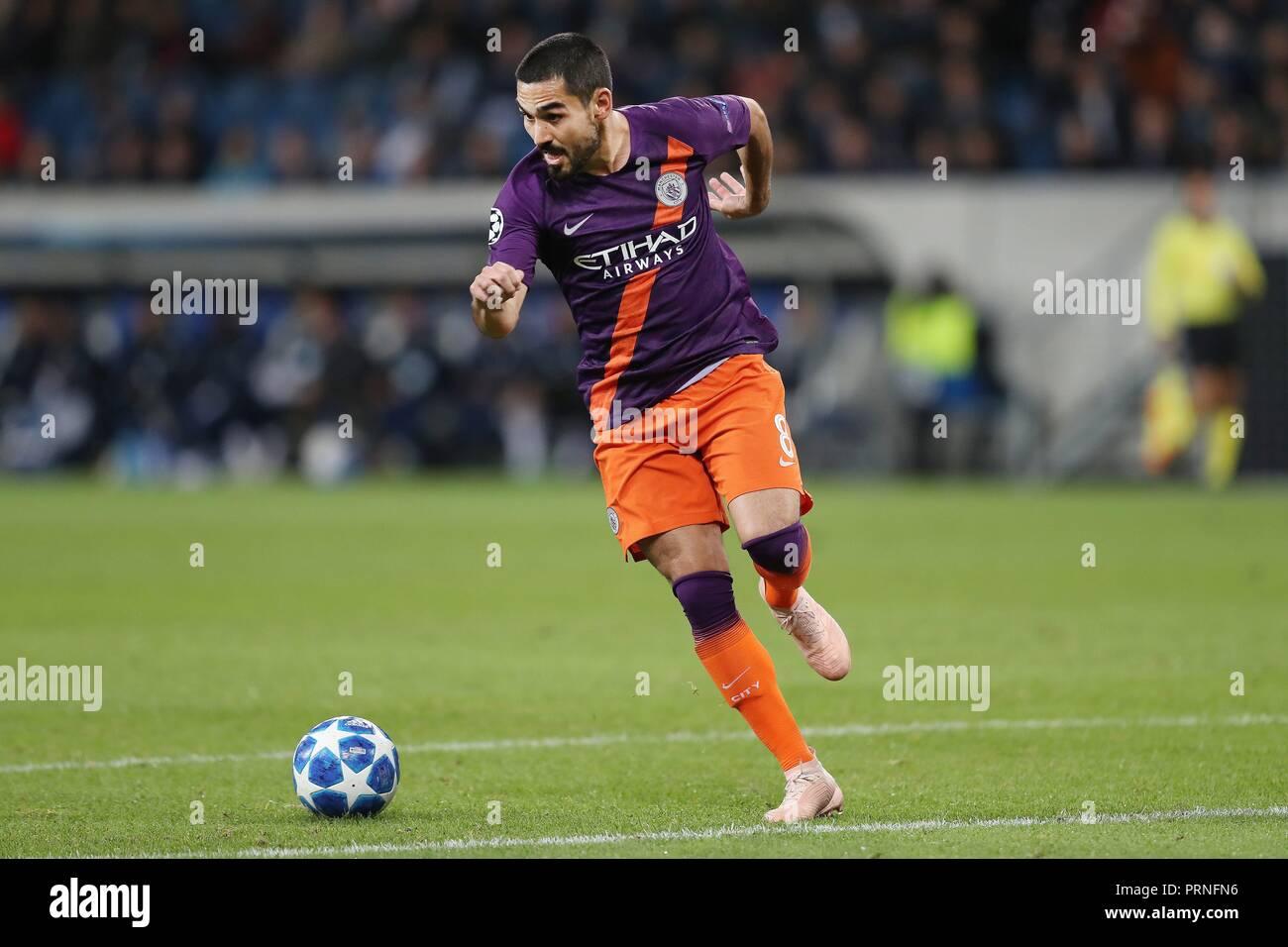 firo: 02.10.2018 Football, Football, Champions League: TSG Hoffenheim - Manchester City 1: 2 Ilkay Gundogan, single action,   usage worldwide - Stock Image