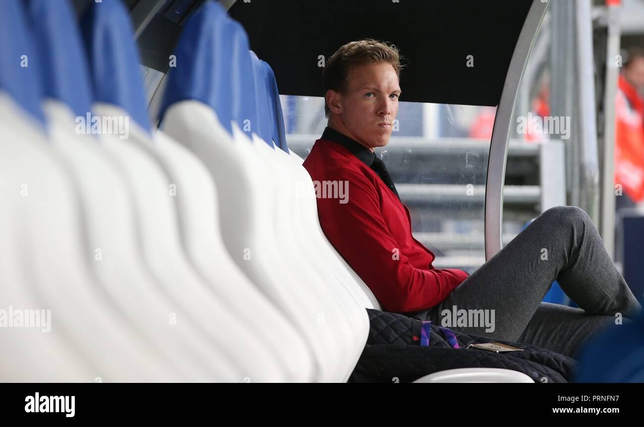 firo: 02.10.2018 Football, Football, Champions League: TSG Hoffenheim - Manchester City 1: 2 coach Julian Nagelsmann, Portrait, on the coachbank   usage worldwide - Stock Image