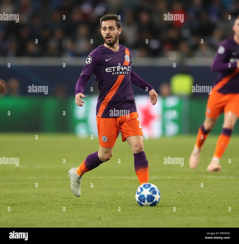 firo: 02.10.2018 Football, Football, Champions League: TSG Hoffenheim - Manchester City 1: 2 single action, Bernardo Silva   usage worldwide - Stock Image