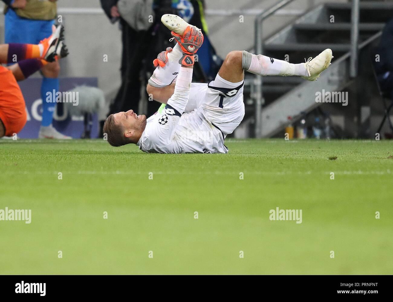 firo: 02.10.2018 Football, Football, Champions League: TSG Hoffenheim - Manchester City 1: 2 Am ground Oliver Baumann   usage worldwide - Stock Image