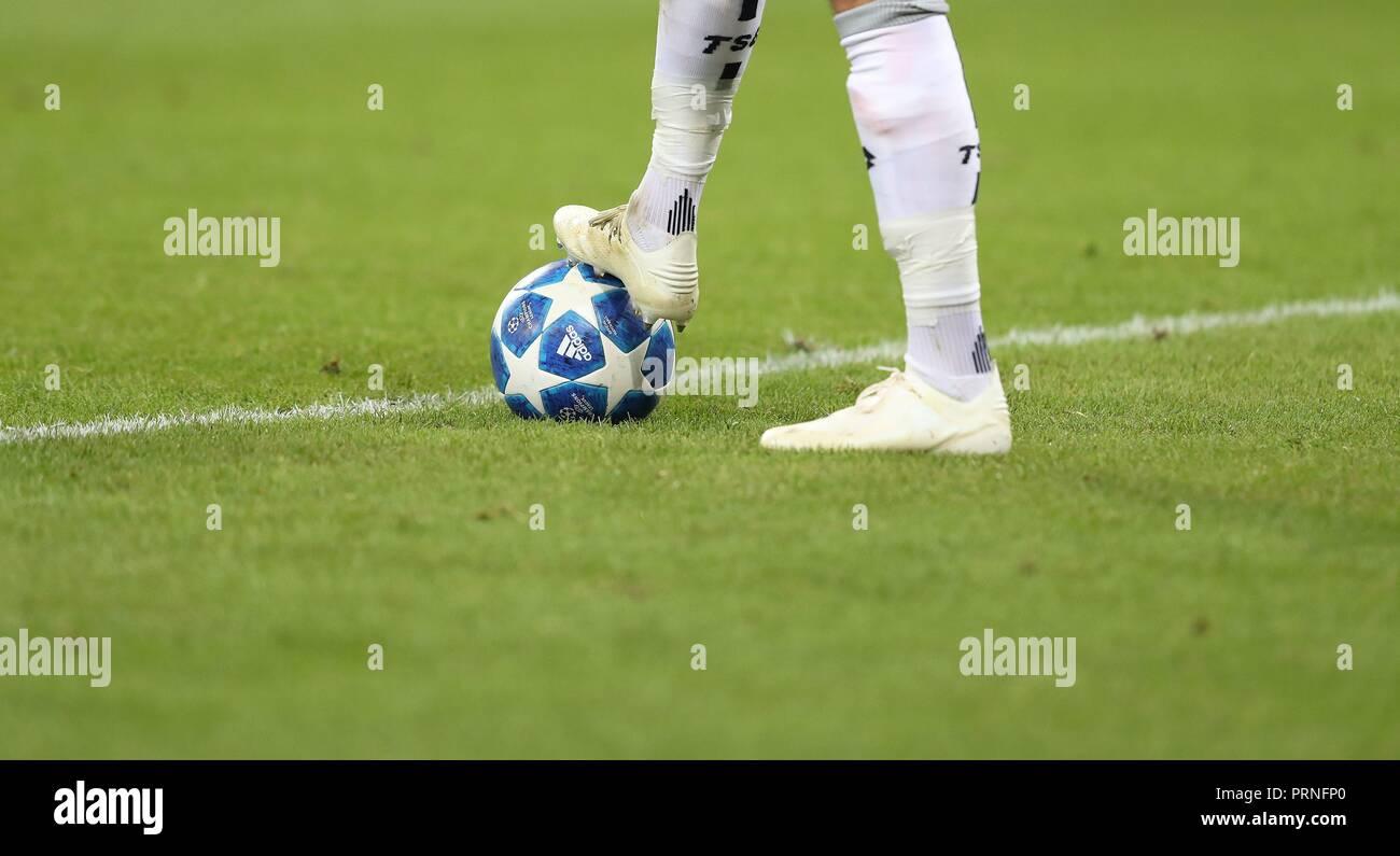 the latest 3e4f5 f82ae firo  02.10.2018 Football, Football, Champions League  TSG Hoffenheim -  Manchester City 1  2, general, feature, depositor, background, ball, ball,  adidas ...